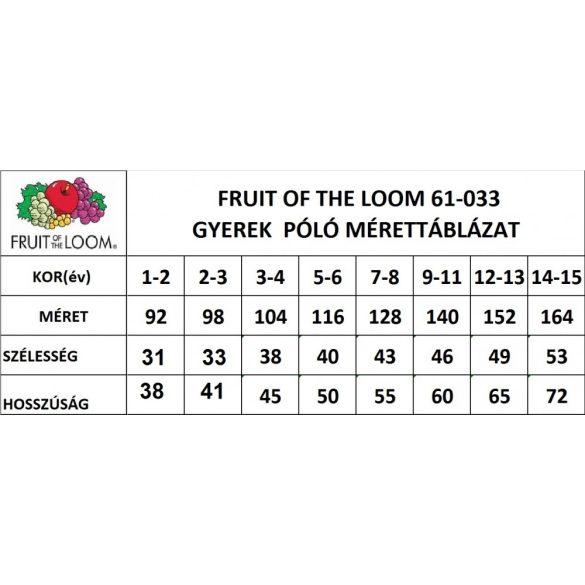 Fruit of the Loom gyerek póló, sárga