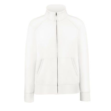 Női pulóver magasított gallérral, fehér