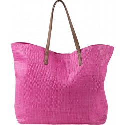 Barna fülű strandtáska, pink