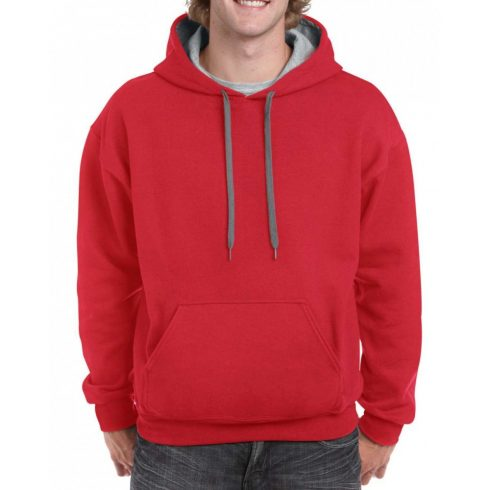 Gildan pulóver kapucnival, piros/szürke