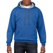 Gildan pulóver kapucnival, kék/szürke