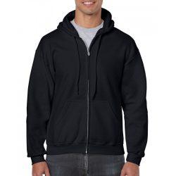 Gildan cipzáros-kapucnis pulóver, fekete