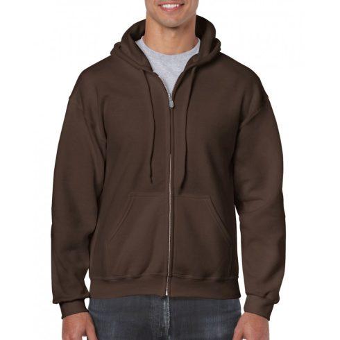 Gildan cipzáros-kapucnis pulóver, étcsokoládé