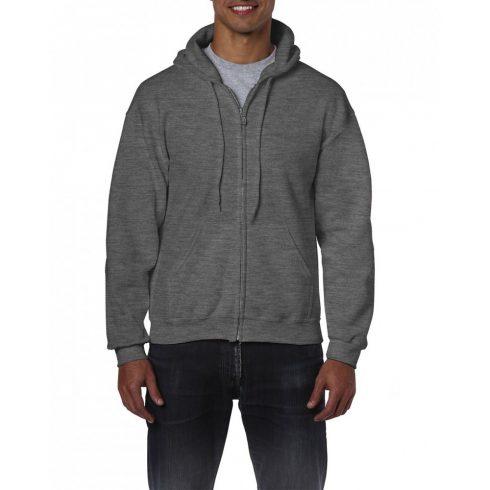 Gildan cipzáros-kapucnis pulóver, dark heather