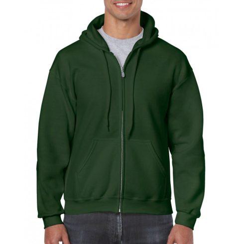 Gildan cipzáros-kapucnis pulóver, forestgreen
