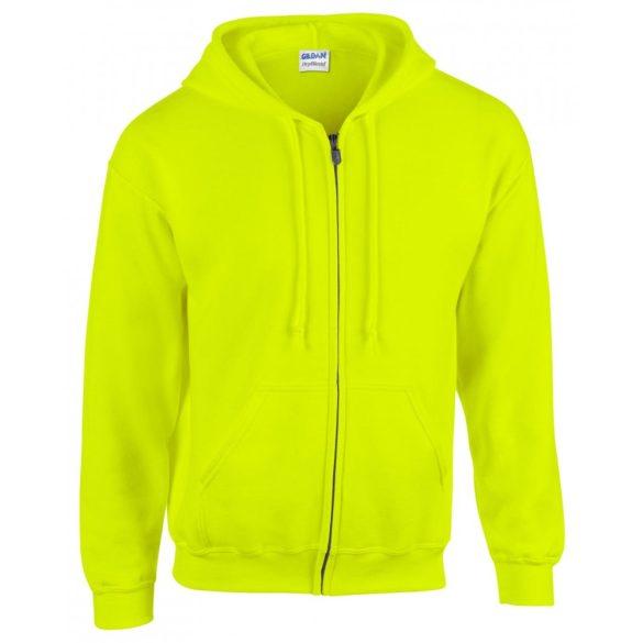 Gildan cipzáros-kapucnis pulóver, biztonsági zöld