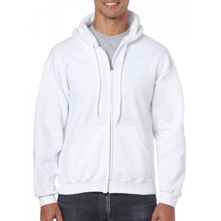 Gildan cipzáros-kapucnis pulóver, fehér
