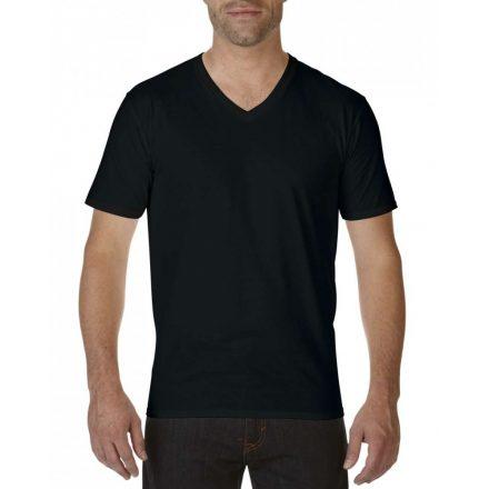 Gildan V nyaku prémium pamut póló, fekete