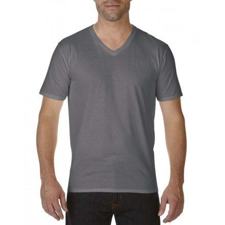 Gildan V nyaku prémium pamut póló, faszén szürke