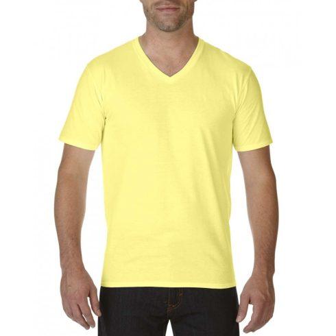 Gildan V nyaku prémium pamut póló, cornsilk