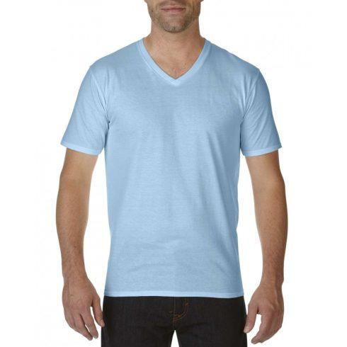 Gildan V nyaku prémium pamut póló, világoskék