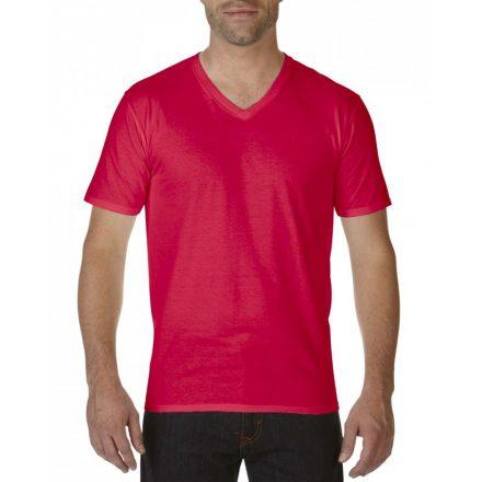Gildan V nyaku prémium pamut póló, piros