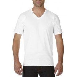 Gildan V nyaku prémium pamut póló, fehér