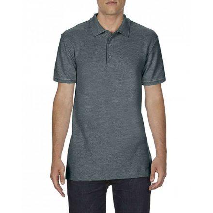 Gildan SOFTSTYLE férfi dupla piké póló, dark heather