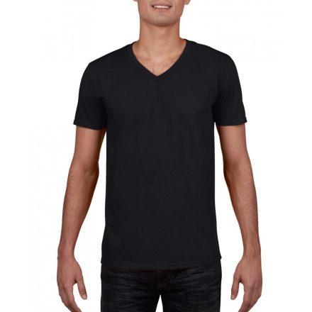Gildan V. nyakú férfi póló, fekete