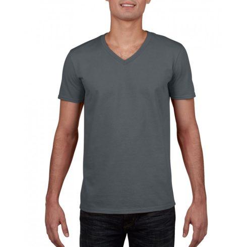 Gildan V. nyakú férfi póló, faszénszürke