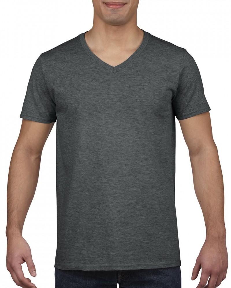 5845ebef6 Gildan V. nyakú férfi póló, dark heather