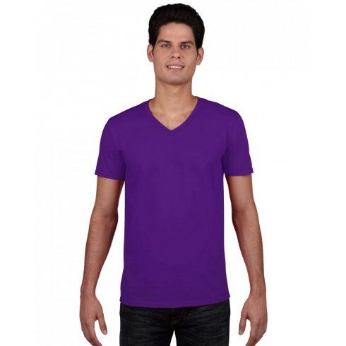 Gildan V. nyakú férfi póló, lila