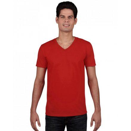 Gildan V. nyakú férfi póló, piros