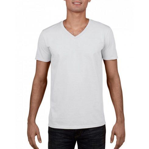 Gildan V. nyakú férfi póló, fehér