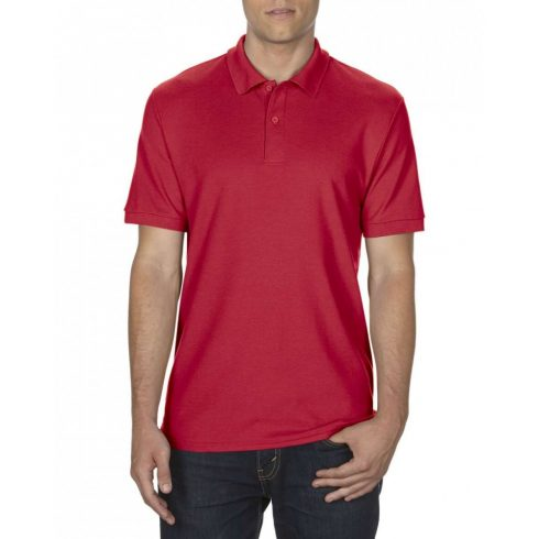 Gildan DryBlend férfi póló dupla piké anyagból, piros