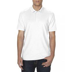 Gildan DryBlend férfi póló dupla piké anyagból, fehér
