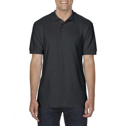Gildan prémium férfi dupla piké póló, fekete