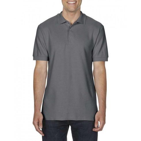 Gildan prémium férfi dupla piké póló, charcoal