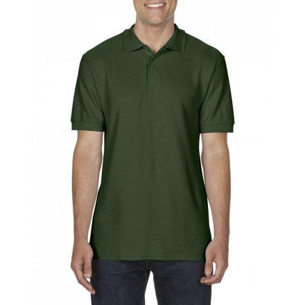 Gildan prémium férfi dupla piké póló, sötétzöld
