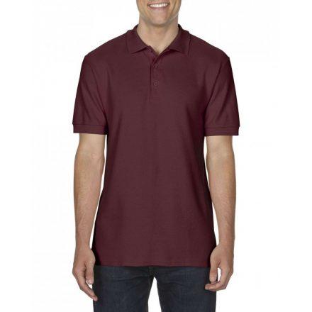 Gildan prémium férfi dupla piké póló, maroon