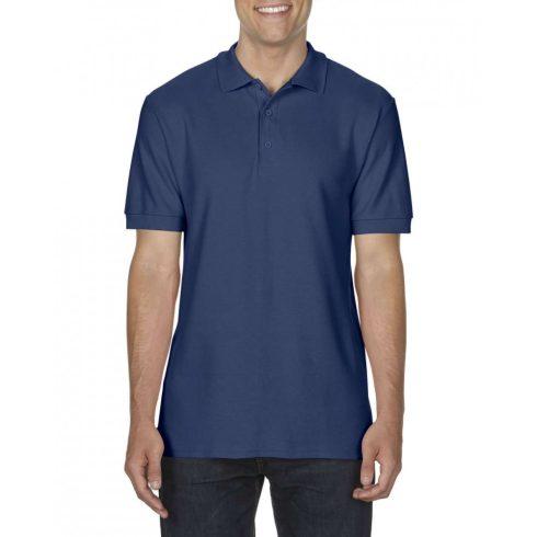 Gildan prémium férfi dupla piké póló, sötétkék