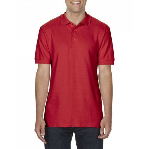 Gildan prémium férfi dupla piké póló, piros