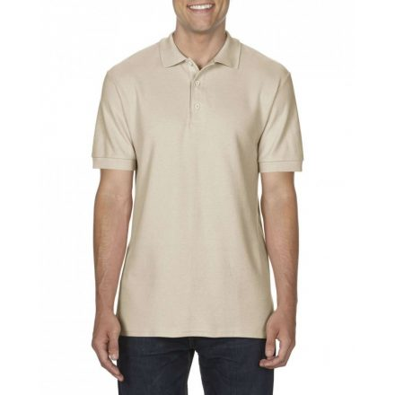Gildan prémium férfi dupla piké póló, sand