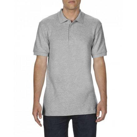 Gildan prémium férfi dupla piké póló, sportszürke