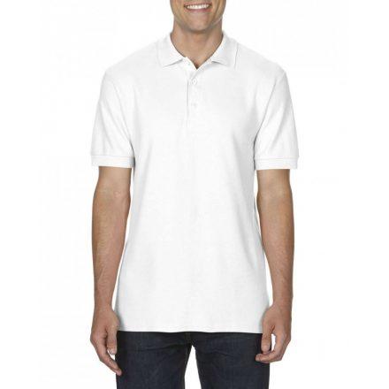 Gildan prémium férfi dupla piké póló, fehér