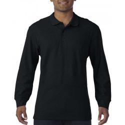 Gildan prémium férfi dupla piké hosszú ujjú póló, fekete