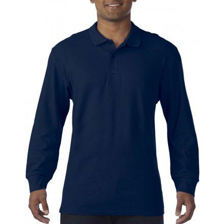 Gildan prémium férfi dupla piké hosszú ujjú póló, sötétkék