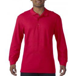 Gildan prémium férfi dupla piké hosszú ujjú póló, piros