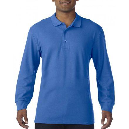 Gildan prémium férfi dupla piké hosszú ujjú póló, királykék