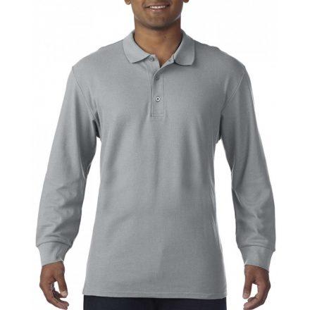 Gildan prémium férfi dupla piké hosszú ujjú póló, sportszürke