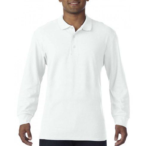 Gildan prémium férfi dupla piké hosszú ujjú póló, fehér