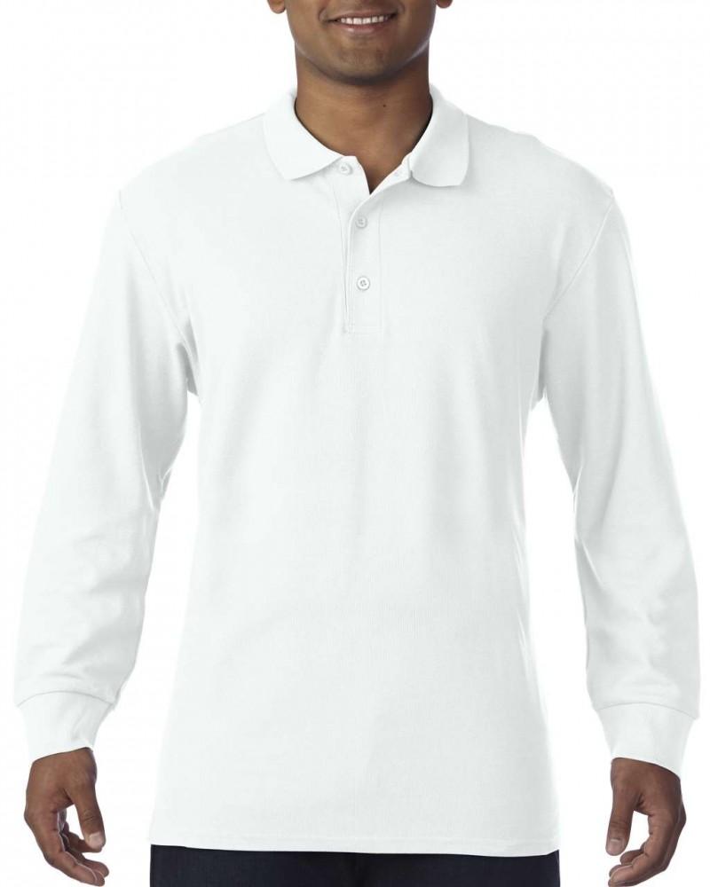 4035d49ca9 Gildan prémium férfi dupla piké hosszú ujjú póló, fehér - poloplaza