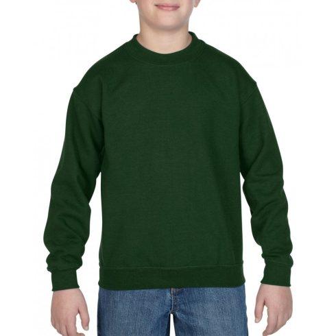 Gildan kereknyakú gyerekpulóver, sötétzöld