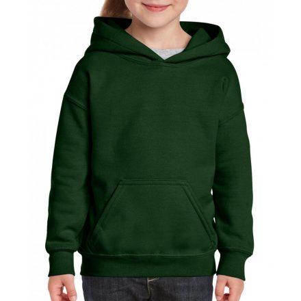 Gildan kapucnis gyerekpulóver, Forest Green