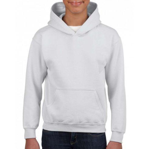 Gildan kapucnis gyerekpulóver, White