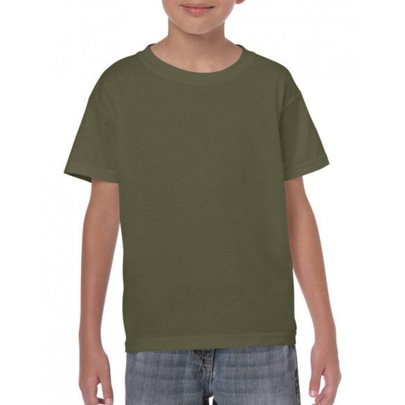 Gildan környakas gyerekpóló, katonaizöld