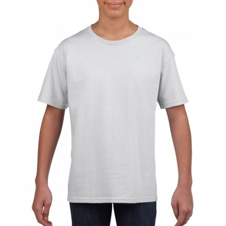 Softstyle Gildan gyerekpóló, fehér