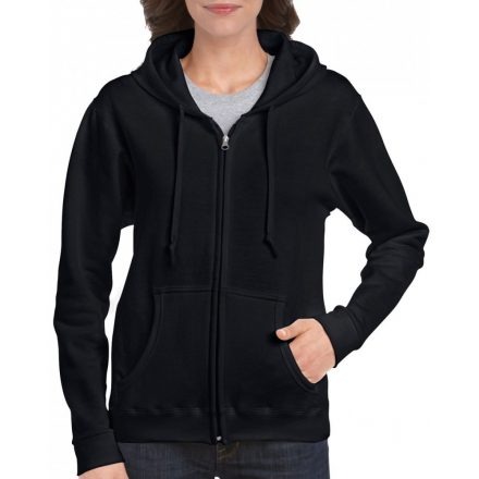 Gildan női cipzáras pulóver, fekete