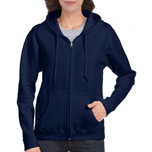 Gildan női cipzáras pulóver, sötétkék