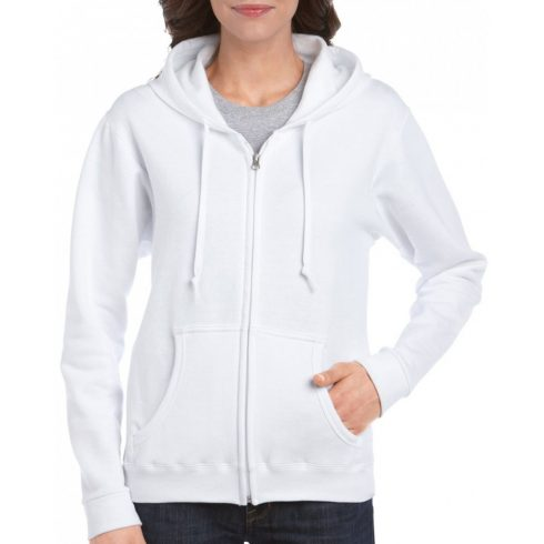 Gildan női cipzáras pulóver, fehér